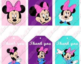 80% OFF SALE minnie thank you tag, minnie thank you, minnie tags, thank you, tags minnie, minnie printable, minnie tag, minnie