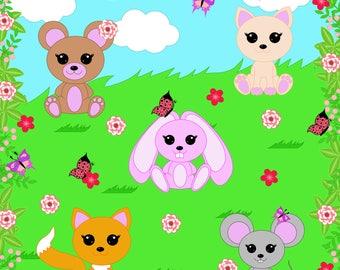 80% OFF SALE Animals clipart, digital clipart, cute animals clipart, fox, bear, cat, mouse, hare, animals clip art, clip art, clipart