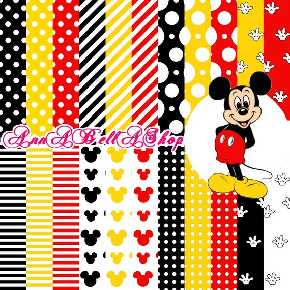 Mickey Mouse digital papers, commercial use, background, scrapbooking  papers, digital image, jpg, png, svg, pdf