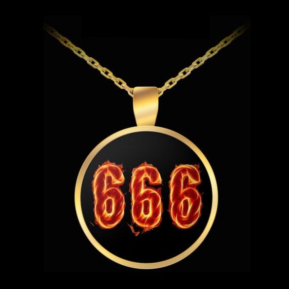 Esoteric Satan Necklace 666 Burning Satanic Symbol Occult Etsy