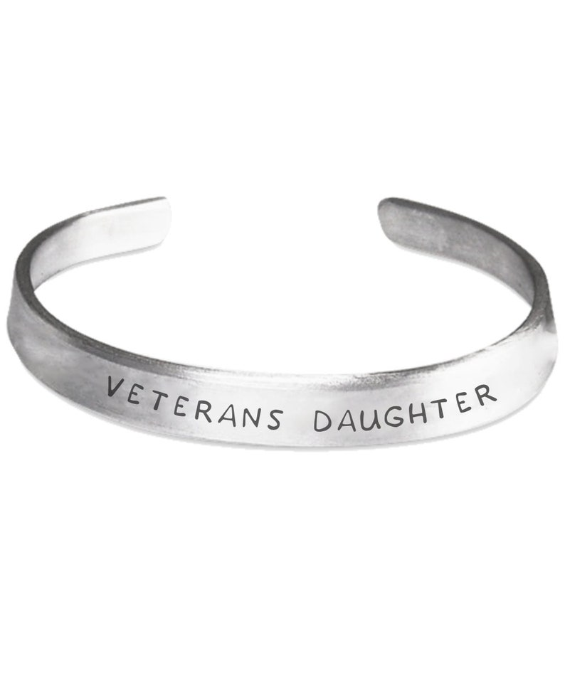 Military ex soldier family DD 214 Accessories gift Army soldier family Veterans daughter Stamped Bracelet