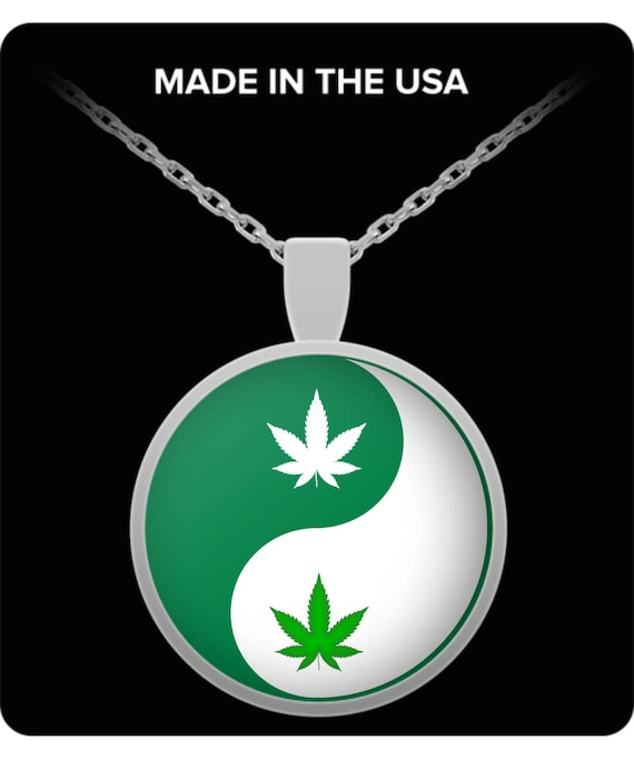stoner 420 gift Weed necklace ganja accessories Cannabis Leaf Yin Yang