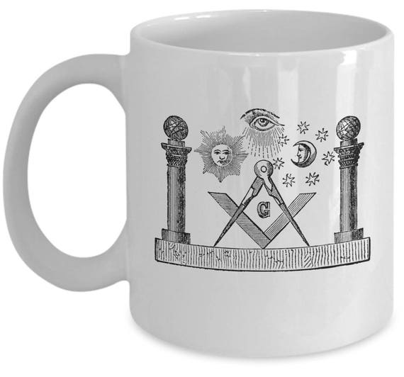 Freemason coffee mug - Freemasonry old symbols - masonic gifts