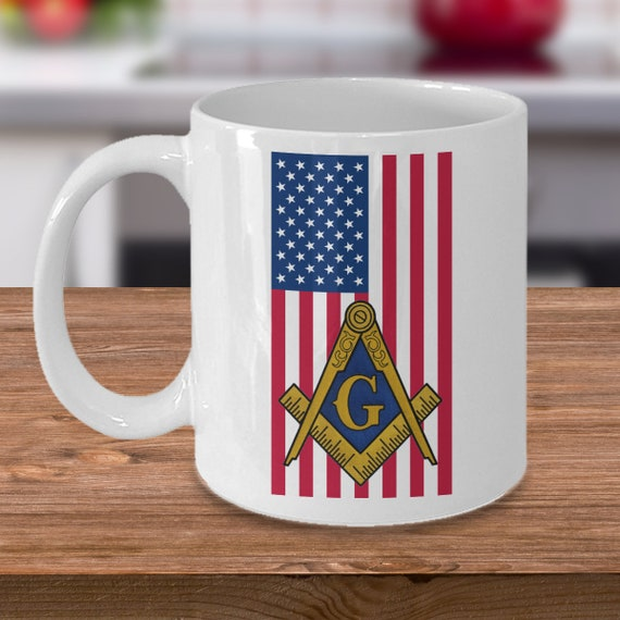 USA Freemason coffee mug freemasonry square and compass symbol Masonic gifts