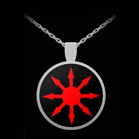 Esoteric Necklace Chaos Magick Symbol Black Pendant Necklace Etsy