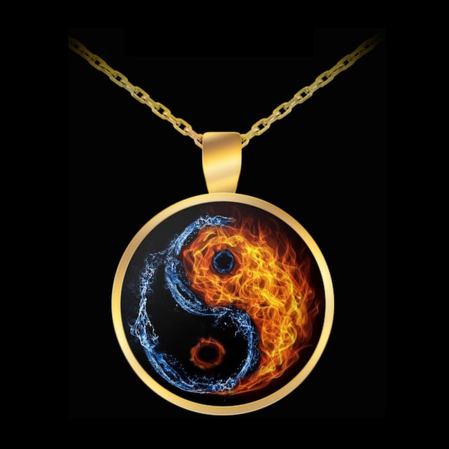 Esoteric Necklace Yin Yang Fire Water Chinese Symbol Etsy