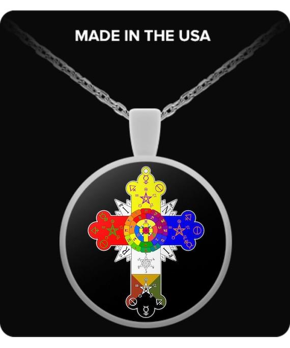 Esotérique Collier-rosicrucien Lamen Rose Croix Symbole occulte Cadeau Accessoires