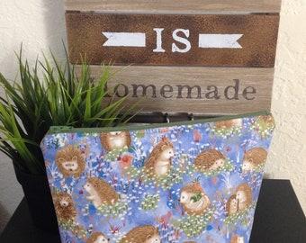 e725e2e3b4 Hedgehog Pouch   Hedgehog Fabric Bag   Blue Hedgehog Village Bag