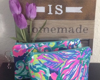 46e73845caa5 Preppy Makeup Bag   Lilly Pulitzer Fabric   Colorful Neon Pouch   EXOTIC  ESCAPADE