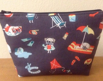 Pugs Day Off Pugs Vacation Zipper Pouch, Makeup Pouch, Travel Bag, Cosmetics Case, Gift, Stand Up Pouch, Accessories Bag