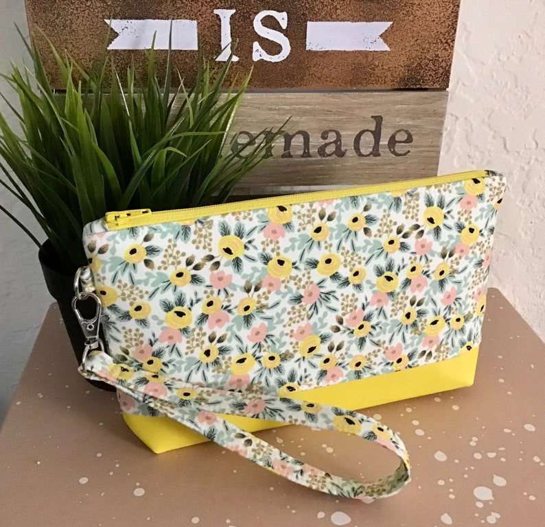 Flower Pouch  Yellow Floral Wristlet  Made With Rifle Paper Rose Fabric and Yellow Vinyl