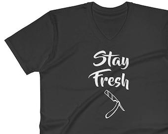 V-Neck T-Shirt - stay fresh shirt - barber t-shirt - straight blade t shirt