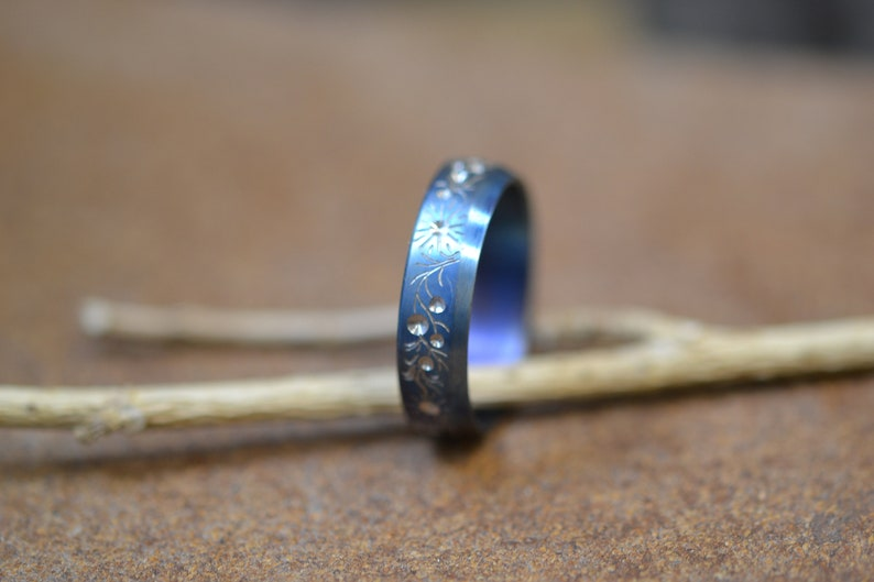 Floral Titanium Ring With An Engraving Blue Wedding Band Botanical Band