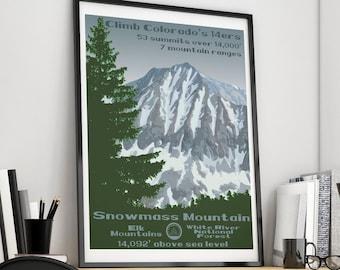 Colorado 14ers 14er poster 14er 14ers Colorado 14er Snowmass Mountain Print 14er print Snowmass Mountain Snowmass Mountain Poster