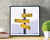 Tour du Mont Blanc Poster - Find Your Way - Tour du Mont Blanc print, Chamonix, Alps, Trail sign, Gift