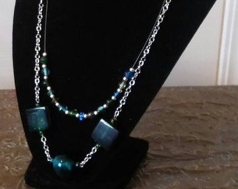 Green and teal multistrand necklace