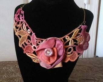 Lace flower bib necklace