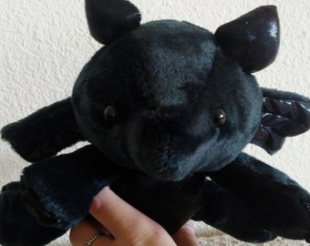 Cute Kawaii Black Leathery Soft Dragon Plush- Adorable Stuffed Dragon Stuffed Toy Plushie