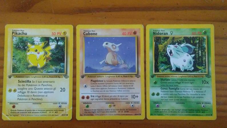 Vintage first edition Italian pokemon cards- pikachu, cubone, Nidoran first  edition stamped cards  Italian nonholo rare vintage cards