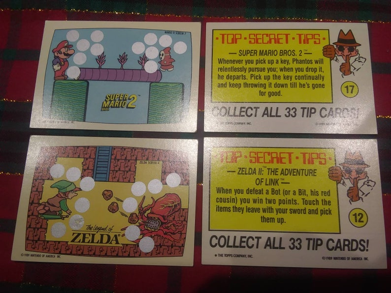 Rare vintage 1989 Nintendo Topps cards- scratchoff super mario 2 legend of  Zelda tip cards, stickers, vintage old great gift