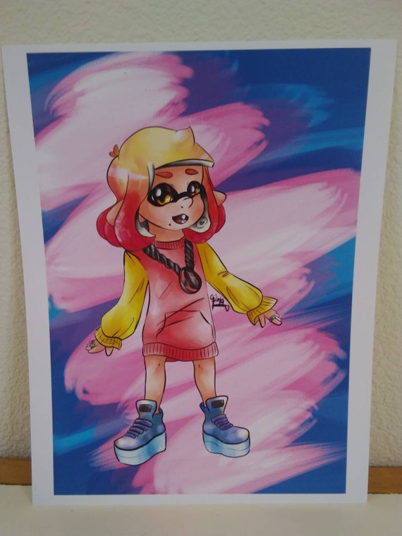 Pearl Off The Hook Splatoon 2 Octo Expansion Art Print Mignon Vaporwave Nintendo Calmar Inkling Fille Originale Dart Digital Illustration