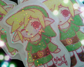 Cute glittery pastel chibi Link stickers!!!!! The legend of Zelda Toon Link stickers!!