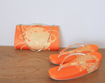Set of 2 Japanese embroidery Bag and Sandals, Vintage Japanese embroidery zori for Kimono, Orange embroidery bag, Gorgeous bag and sandals