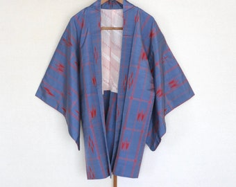 Colour light and dark grey Available in 12 or metre lengths Japanese vintage silk haori fabric