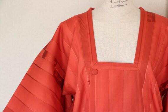 SALE /// Vintage Kimono Coat, Orange Red Long coat