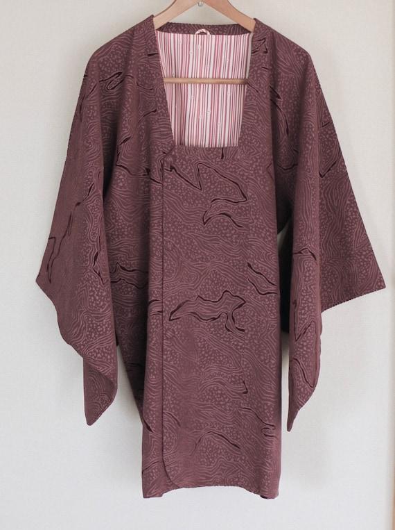 Vintage Kimono Coat, Velveteen coat, Vintage Japan