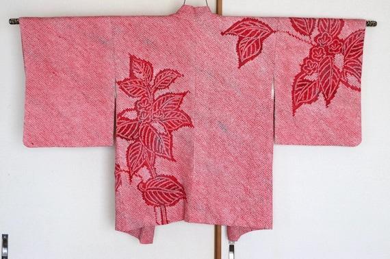 Vintage Japanese kimono Jacket /// Pinkish red sil