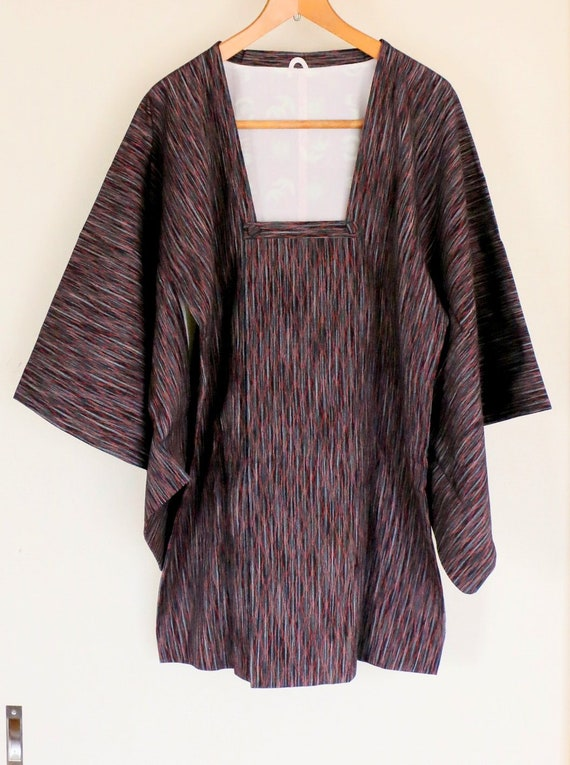 Vintage Kimono Coat, Red diamond pattern coat, Vin