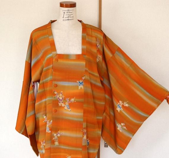 Vintage Kimono Coat, Orange Striped coat, Vintage