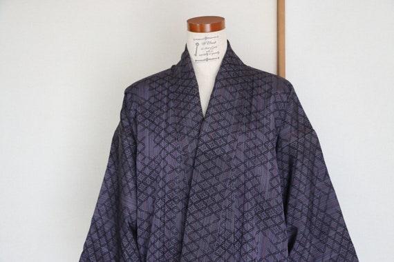 Vintage kimono /// Purple silk kimono, navy kimono
