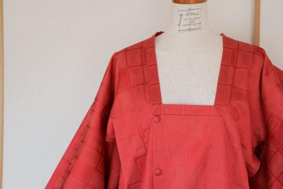 Vintage Kimono Coat, Tomato Orange coat, Vintage J
