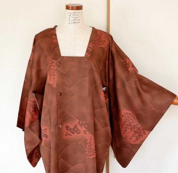 Vintage Kimono Coat, woven Brown coat, Vintage Jap