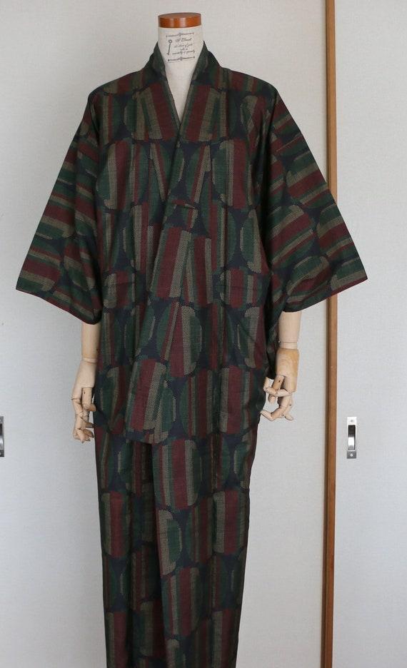 Vintage Japanese Kimono /// Tsumugi, black Kimono,