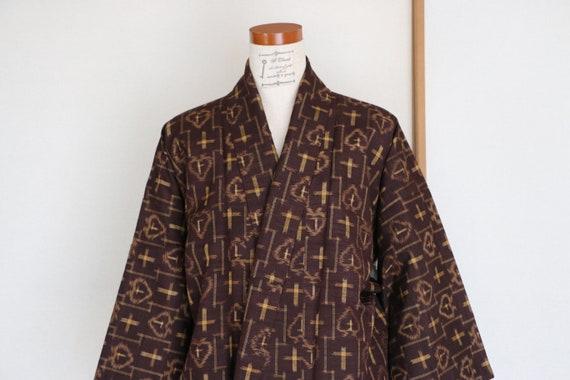 Vintage Japanese Kimono /// Tsumugi, Brown Kimono,