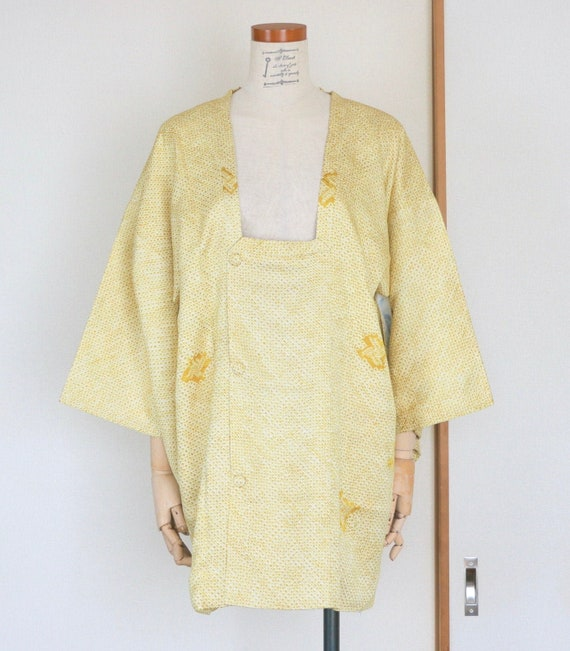 Vintage Kimono Coat /// Yellow silk coat, Vintage
