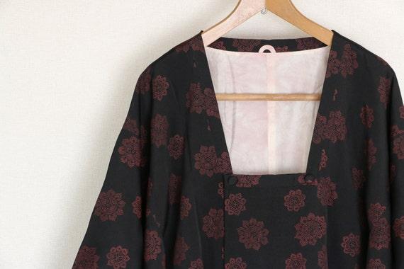 Vintage Kimono Coat, Black coat, Vintage Japanese