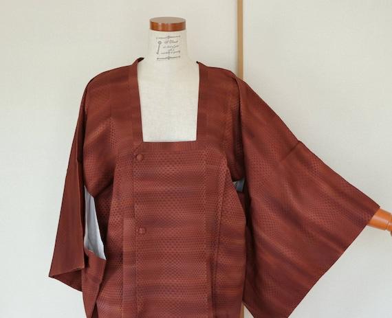 SALE /// Vintage Kimono Coat, woven Brown coat, Vi
