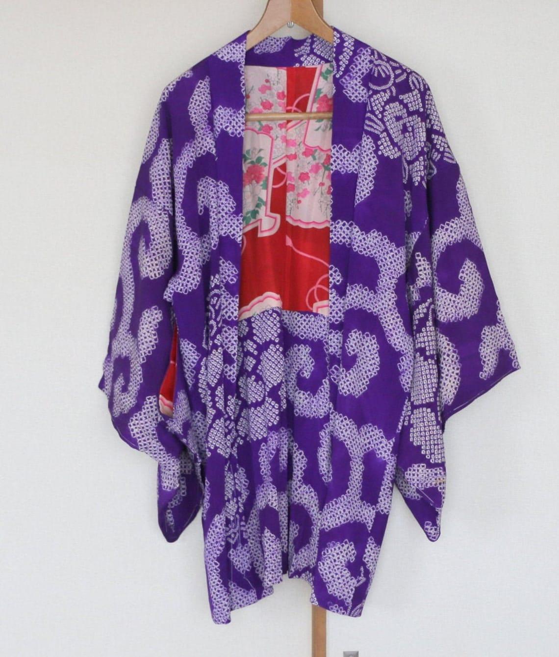 Vintage Japanese Kimono Jacket /// Haori, Silk Shibori Jacke, Jacket, Shibori, Purple Kimono,