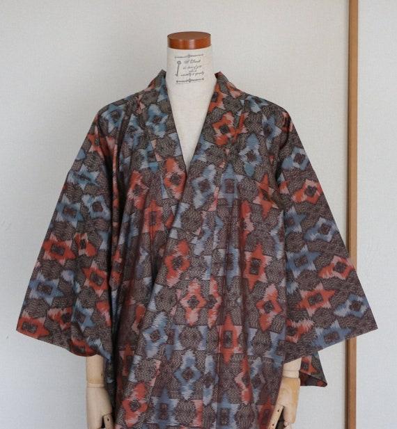Vintage Japanese Kimono /// Tsumugi, blue Kimono,