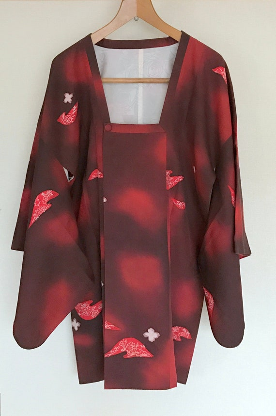 Vintage Kimono Coat, Dark red coat, Vintage Japane