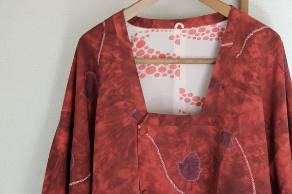 Vintage Kimono Coat, Red tie dye coat, Vintage Jap
