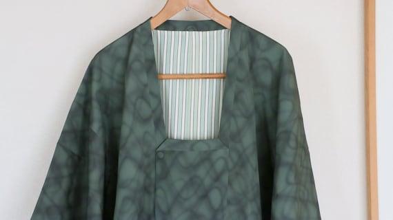 Vintage Kimono Coat, mottled green coat, Vintage J
