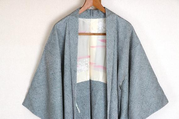 Vintage Japanese kimono Jacket ///  Haori, blue Ha