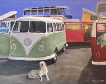 Volkswagen Bus Festival Painting- Original Acrylic on Canvas 14x18