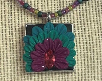 Peacock Clay Necklace