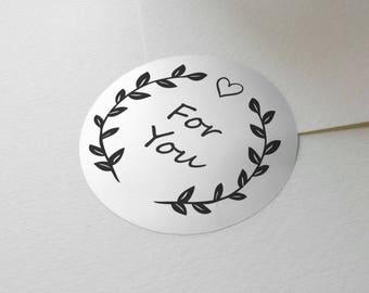 "Transparent oder Silber Folie ""For You"" Etiketten Aufkleber Dichtungen #R4032"